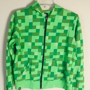 Jinx Minecraft Zip Up Green Jacket XL Boys 18 20